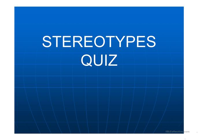 FREE ESL stereotypes Powerpoint presentations, exercises