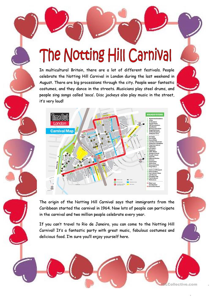 The Notting Hill Carnival | FREE ESL worksheets