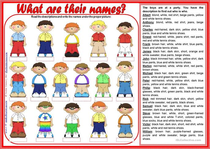 What are their names? (teacher's handout included) - ESL worksheets