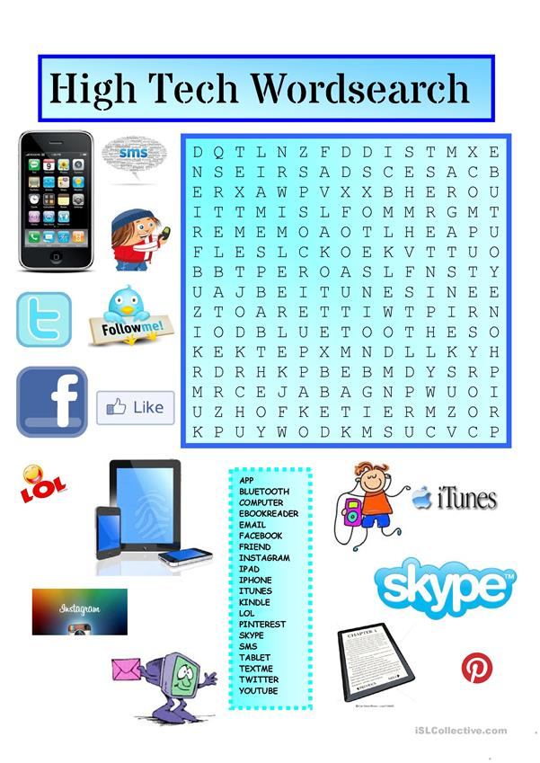 High Tech Wordsearch With Key Worksheet Free Esl