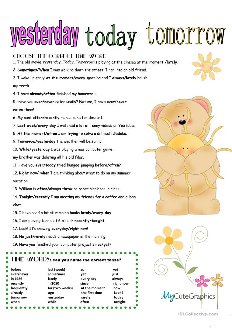 24 free esl time words worksheets all tenses review with key ibookread Download