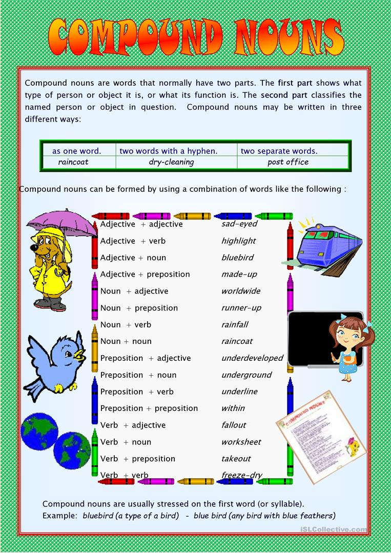 20 FREE ESL compound nouns worksheets – Compound Nouns Worksheet