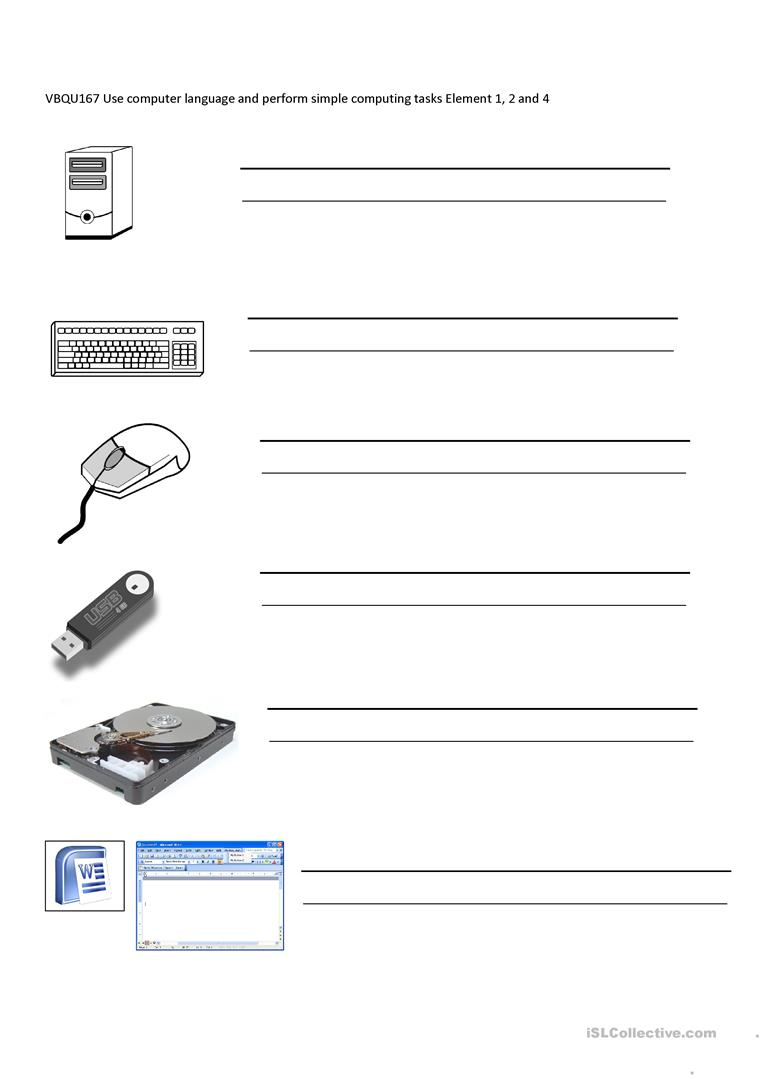 Computer Parts And Their Functions Worksheet Free Esl Printable