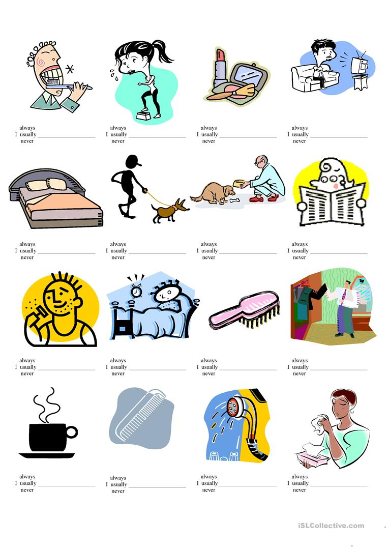 56 FREE ESL daily activities worksheets