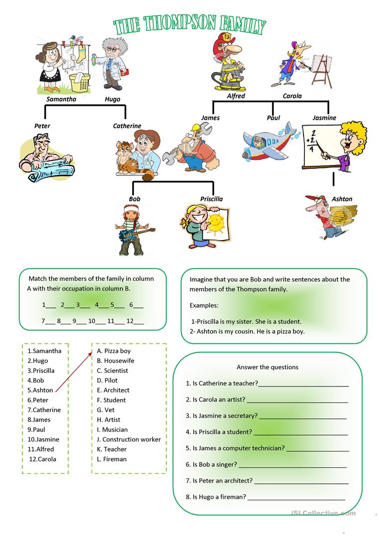 Family and jobs worksheet - Free ESL printable worksheets made by