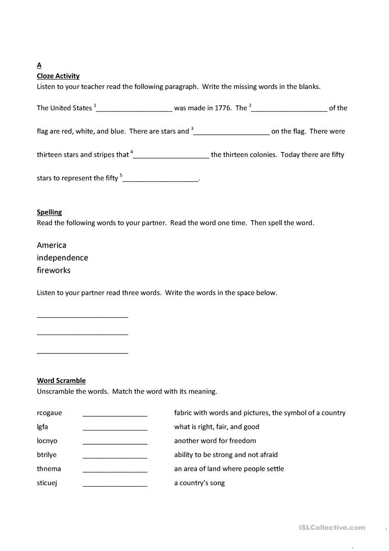 Fourth Of July Worksheet Free Esl Printable Worksheets Made By