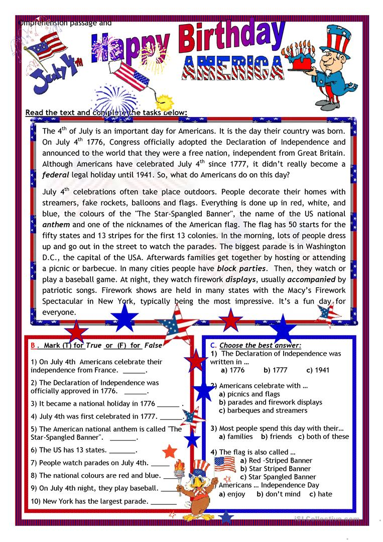 JULY 4th - HAPPY BIRTHDAY AMERICA - English ESL Worksheets