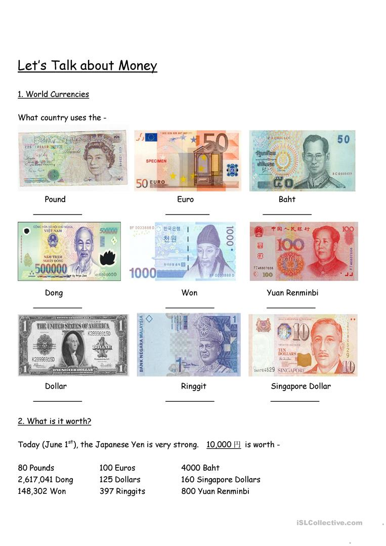 Let's Learn about Foreign Currencies - English ESL Worksheets