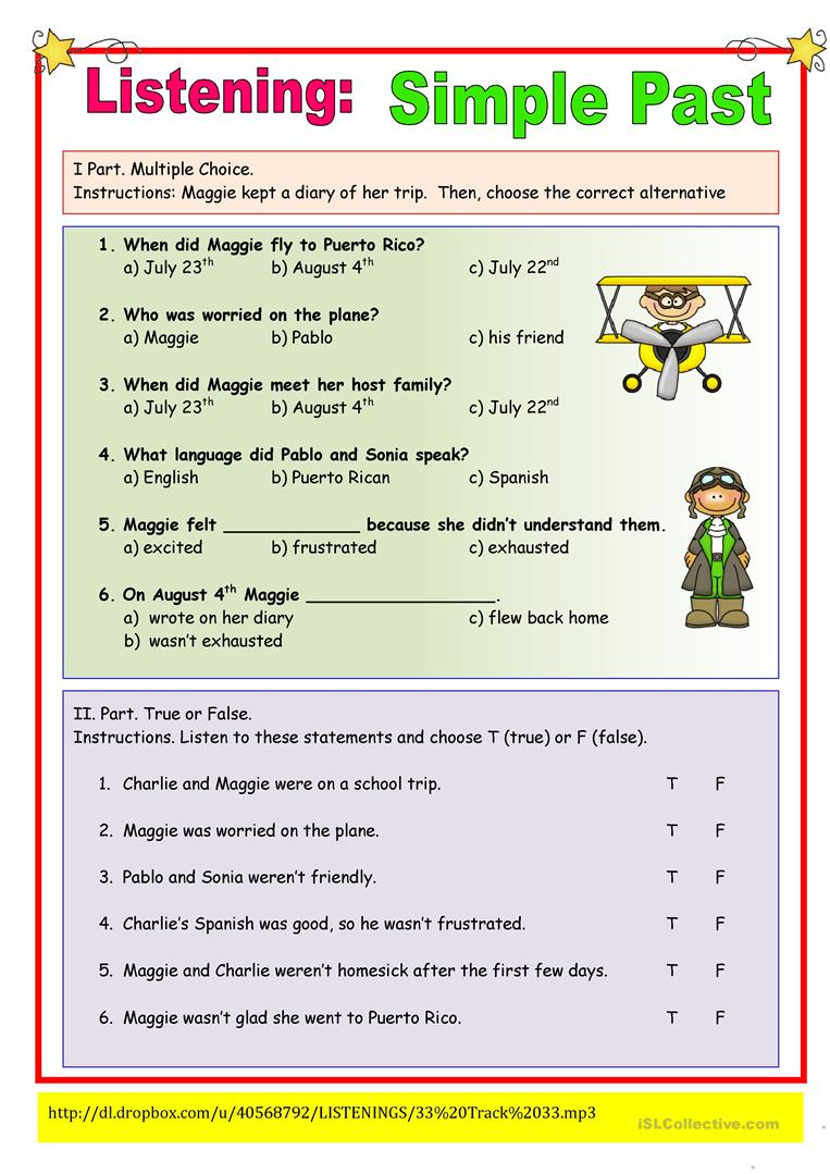 Listening Simple Past Exercise worksheet - Free ESL