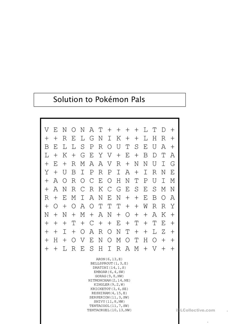 photograph about Pokemon Word Search Printable named Pokemon Wordsearch with Magic formula - English ESL Worksheets