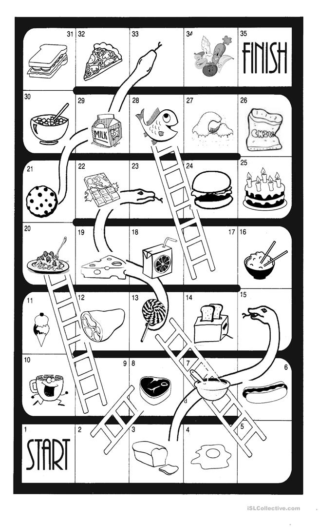 photo relating to Snakes and Ladders Printable called Snakes and Ladders - Foods - English ESL Worksheets