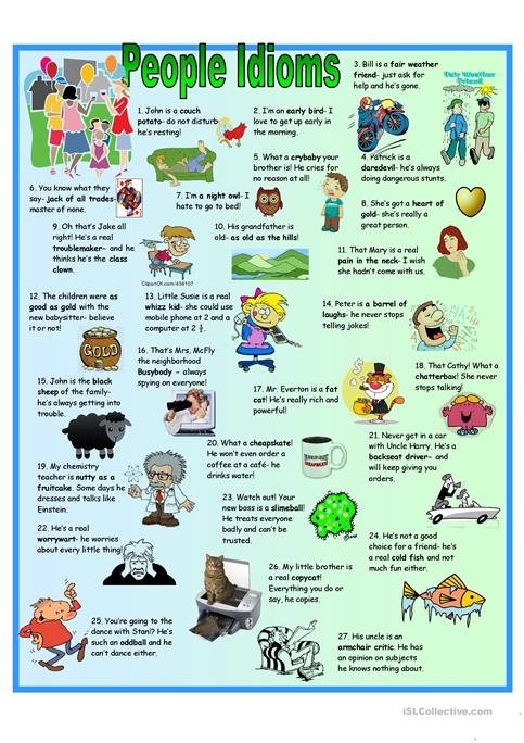 5 Page People Idioms + Vocabulary + KEY worksheet - Free ESL ...