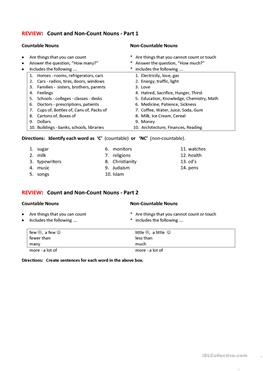 Count and Noncount Nouns worksheet - Free ESL printable worksheets ...