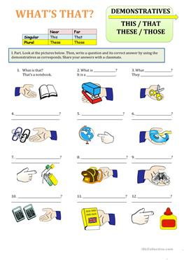 195 Free Esl Pronouns This That These Those Demonstratives