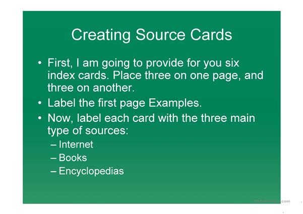 Creating Source Cards
