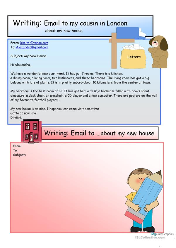 Creative Writing: e-mail  new home #9 A1 Level