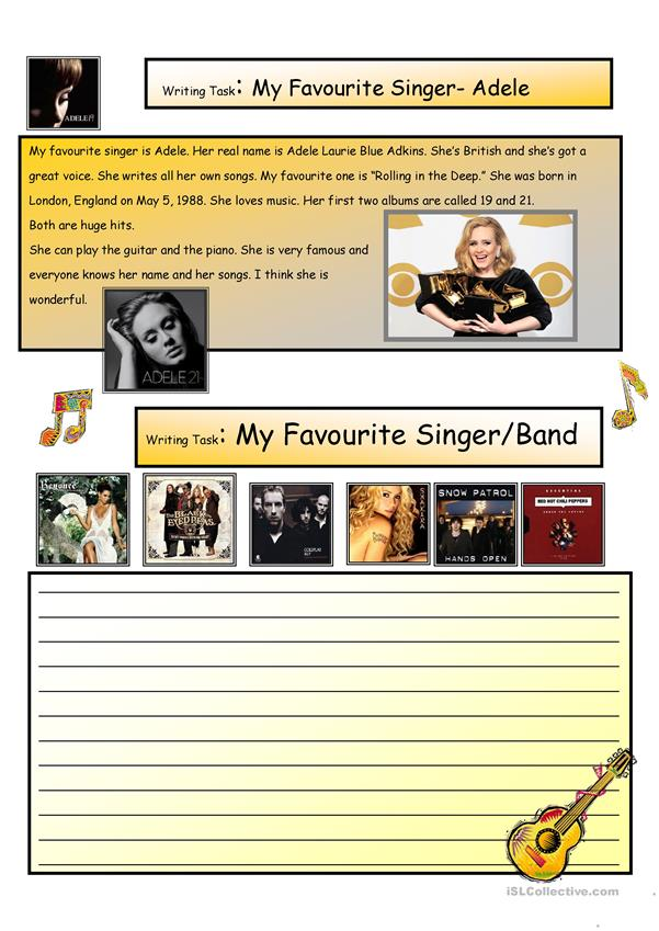 Creative Writing: My Favorite Singer #8 A1 Level