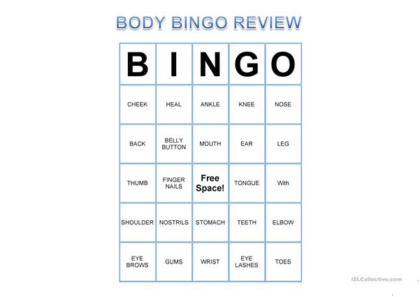ESL Body Bingo