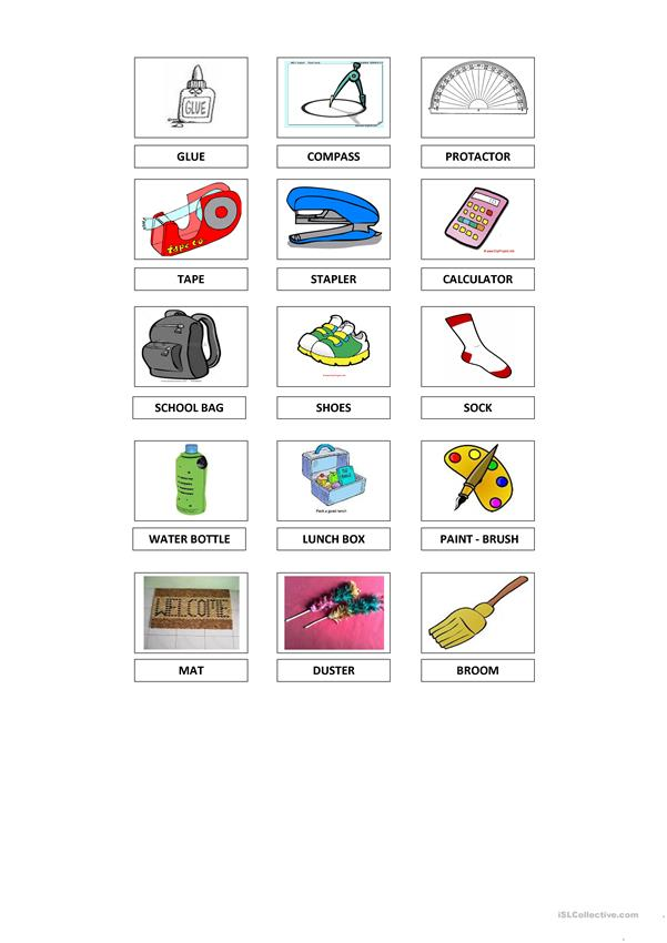 Handout- Things in the Classroom