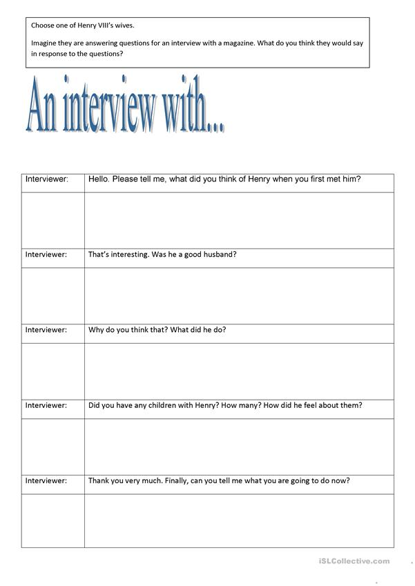 Interview sheet