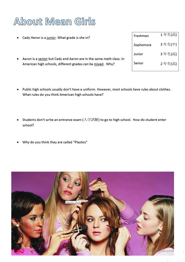 Mean Girls Pre Movie worksheet
