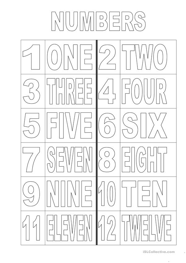 Numbers 1 - 12 colouring page