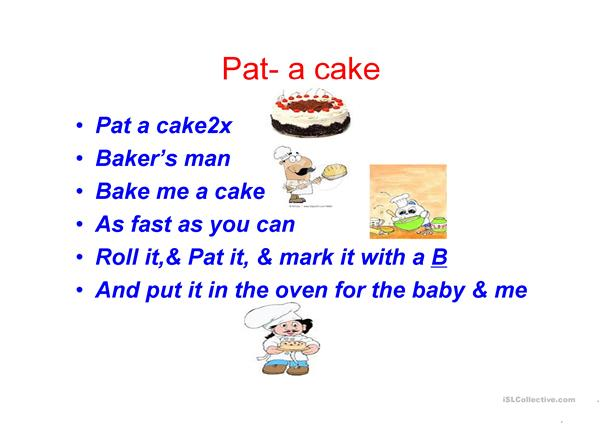 pat a cake nursery rymes with pictures