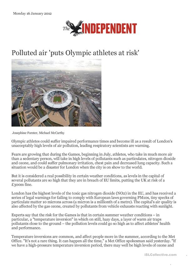 Polluted air puts Olympic athletes at risk