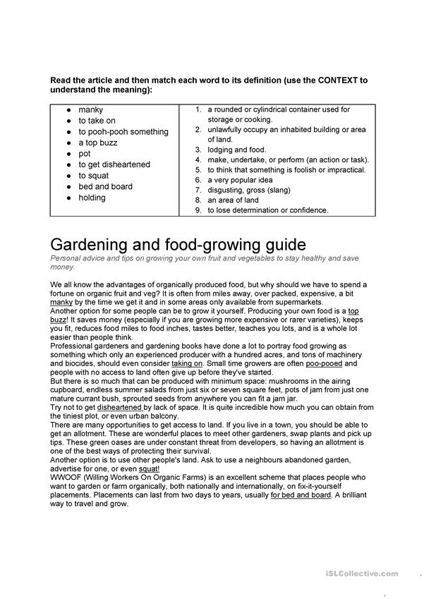 Reading on growing your own food