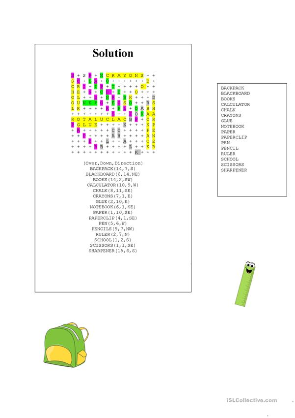 School Vocabulary Wordsearch with KEY