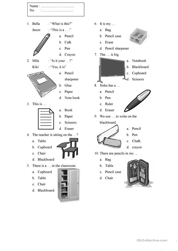 Things in the Classroom Worksheet