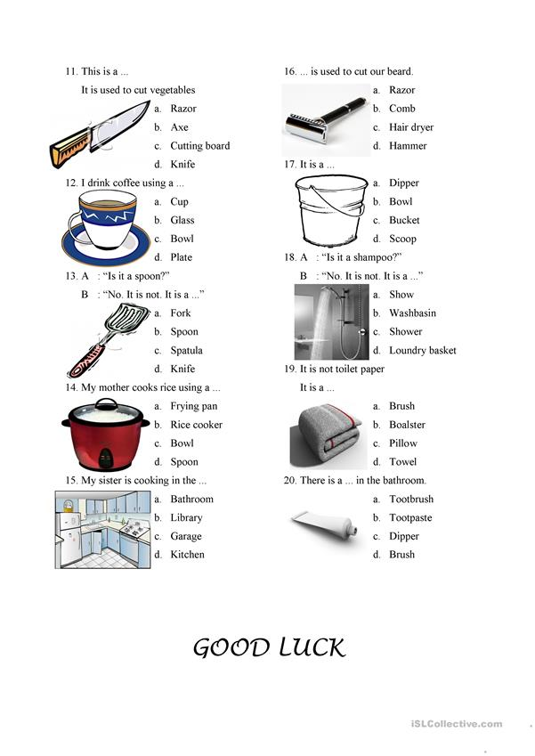 Things in The Kitchen and Bathroom - English ESL Worksheets