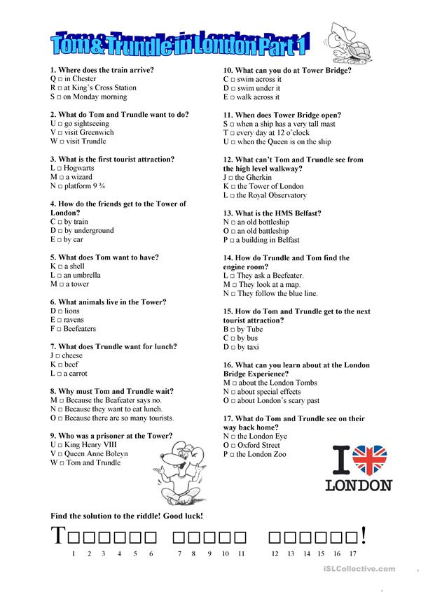 Tom & Trundle in London Part 1 worksheet