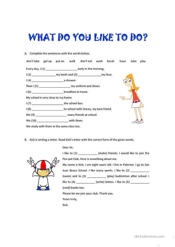 What Do You Like To Do English Esl Worksheets For Distance