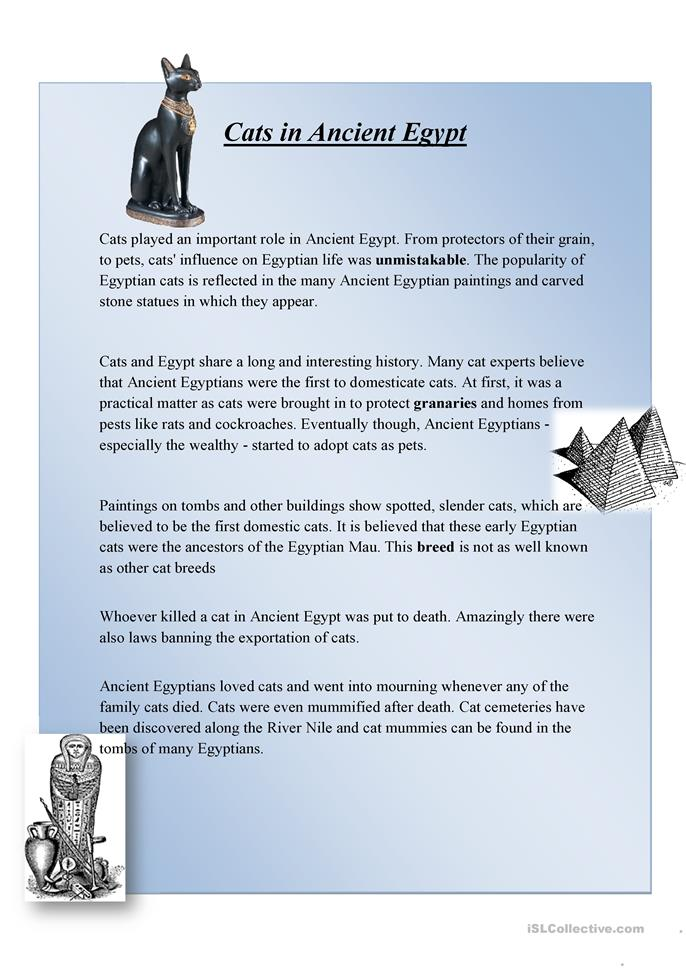 Cats in Ancient Egypt worksheet - Free ESL printable worksheets ...
