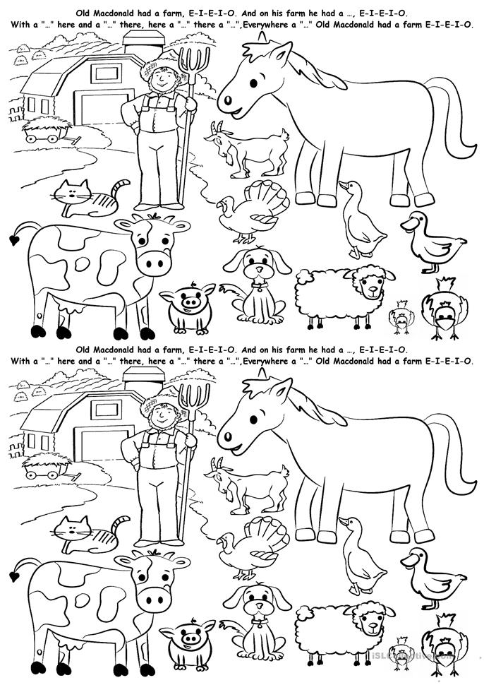 Farm Animals - ESL worksheets