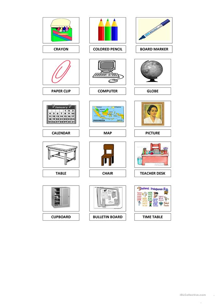 Classroom Handout Ideas ~ Handout things in the classroom worksheet free esl