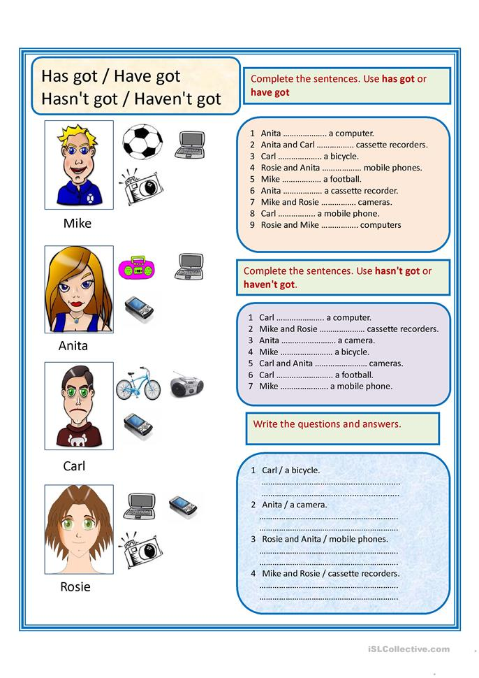 Have got,has got - ESL worksheets