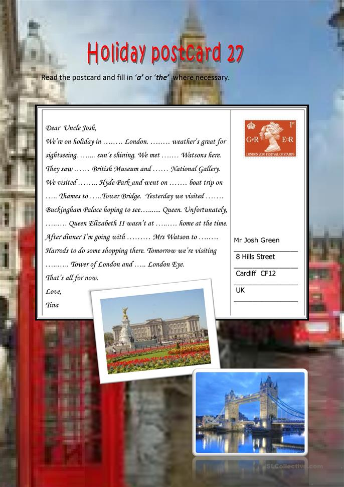 Holiday postcard 27 - ESL worksheets