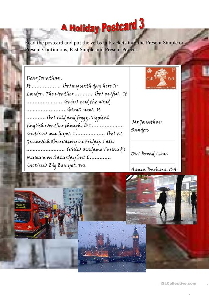 Holiday postcard 3 - ESL worksheets