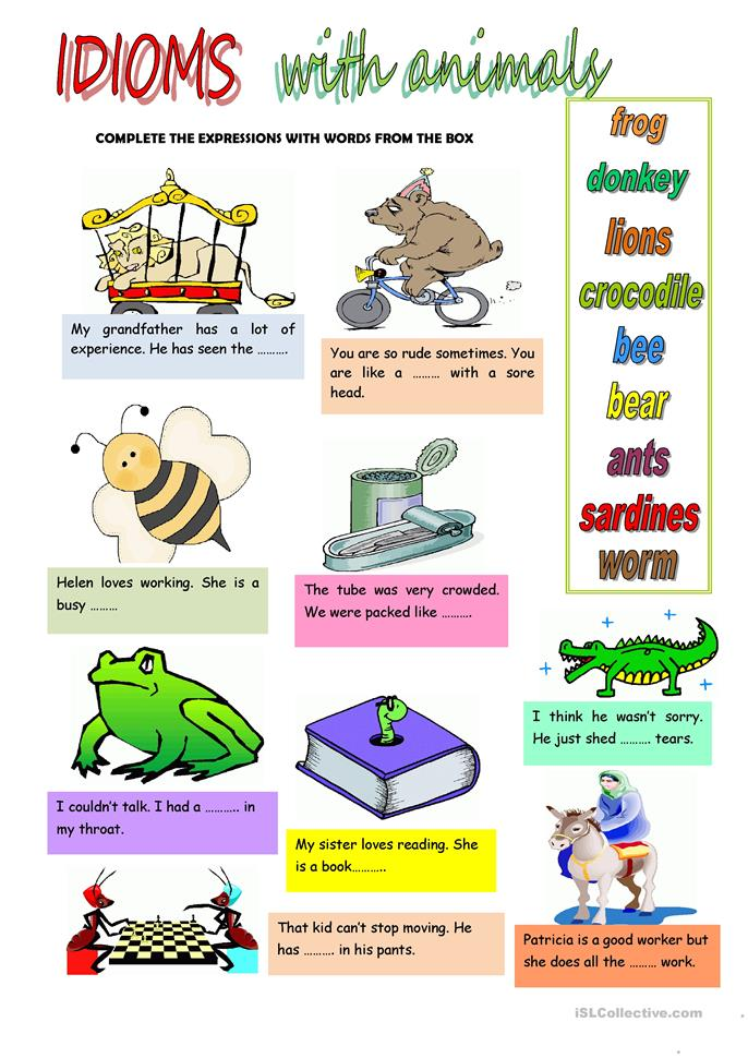 IDIOMS WITH ANIMALS worksheet - Free ESL printable worksheets made by teachers