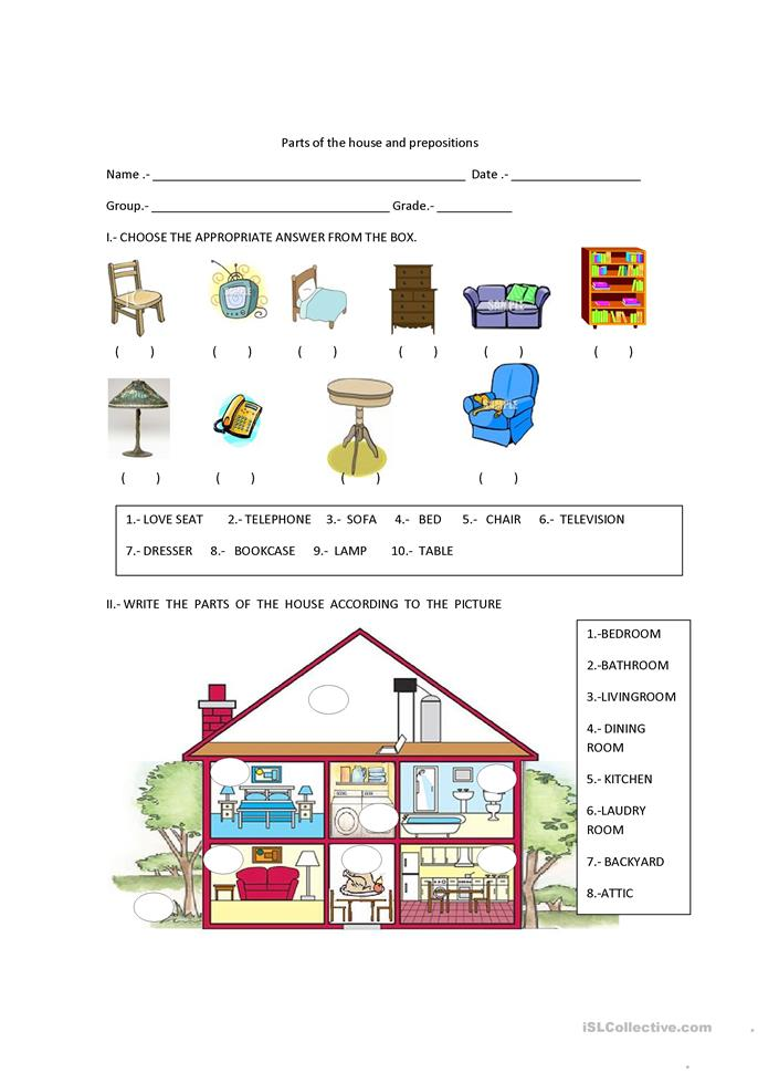 PARTS OF THE HOUSE AND PREPOSITIONS - ESL worksheets