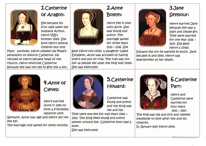 The six wives of Henry VIII worksheet - Free ESL printable worksheets ...