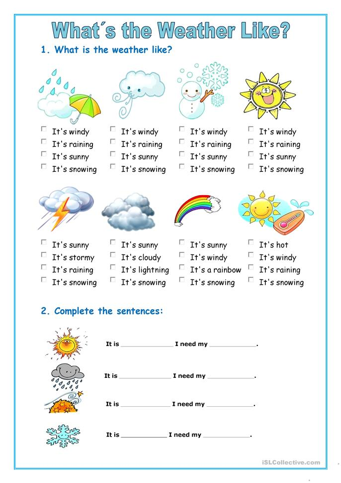 423 Free Esl Weather Worksheets
