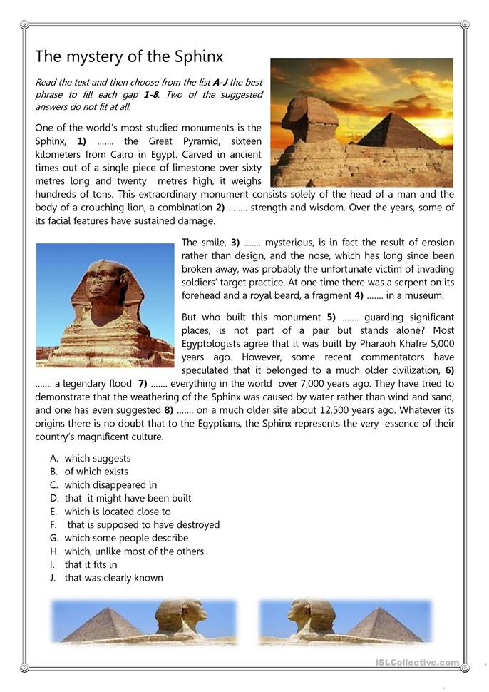 Thre Mystery of the Sphinx 2 - ESL worksheets