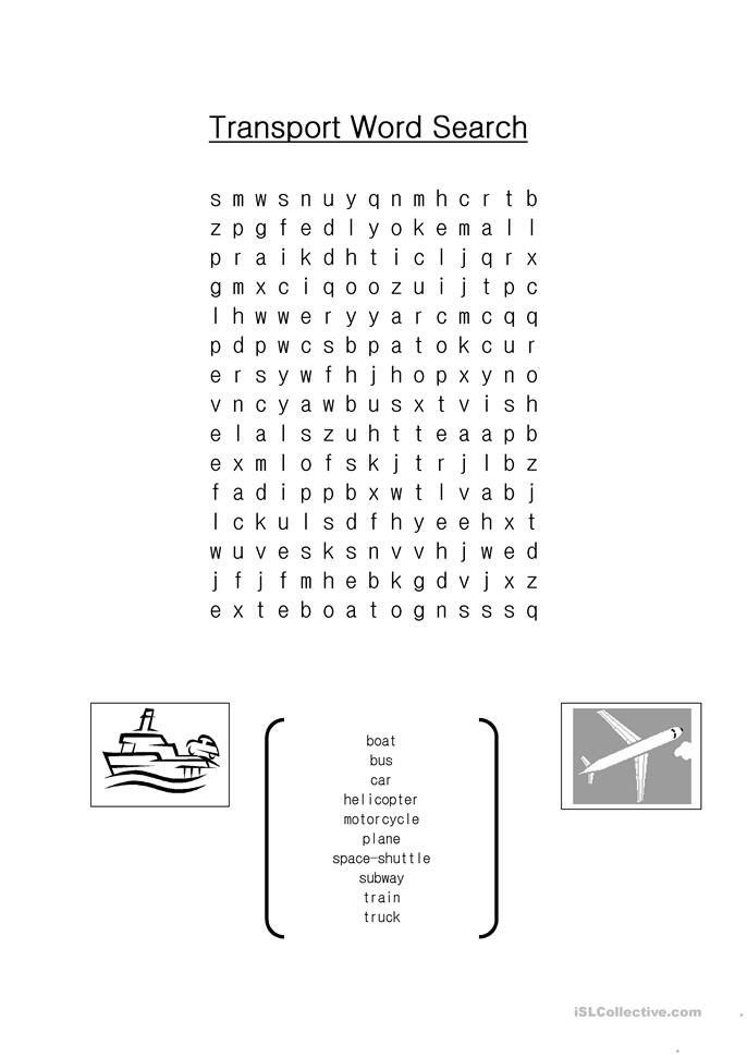 transport word search worksheet
