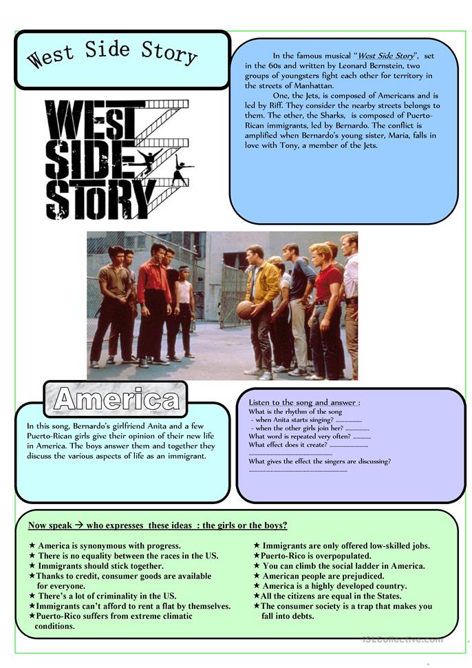 america west side story essay West side story depicts a fight for urban space, a space that has already  the upper east side is the center of anglo-american white power, for the upper bourgeois class resides there at the same time,  york we had the puerto ricans, and at that time the papers were full.