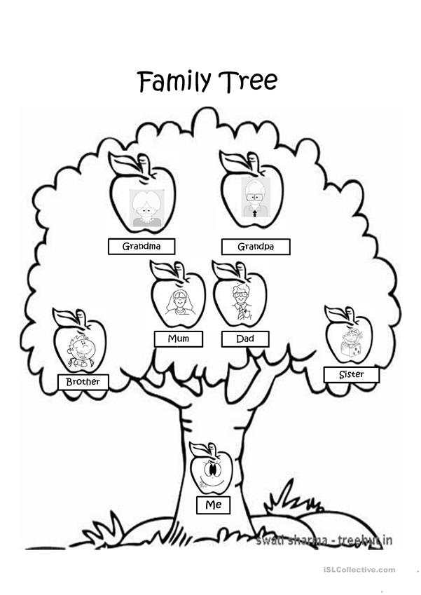 free coloring pages home and family | Family Tree coloring page worksheet - Free ESL projectable ...
