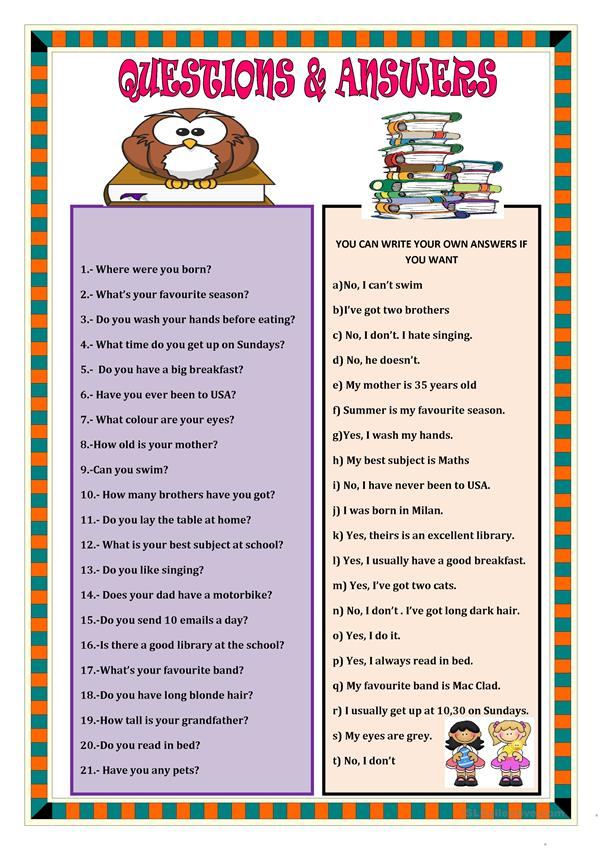 QUESTIONS AND ANSWERS worksheet - Free ESL printable ...