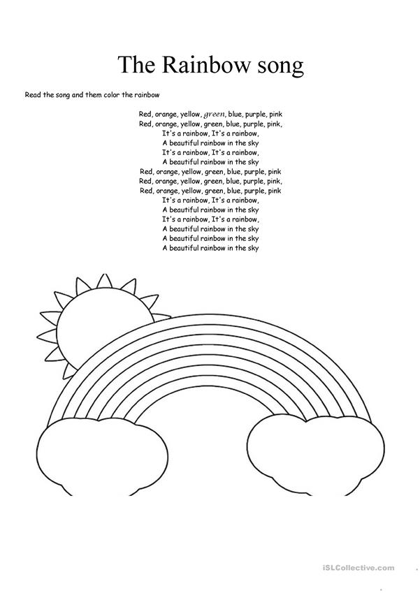 The Rainbow Song English Esl Worksheets For Distance Learning And Physical Classrooms